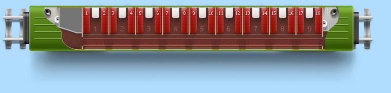 Международный вагон (РИЦ).  30 мест.  Трансформируется в две схемы - 1 класса (два места в купе) и 2 класса...